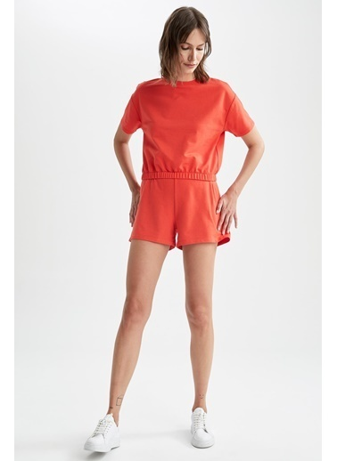 DeFacto Basic Beli Lastikli Relax Fit Crop Tişört Kırmızı
